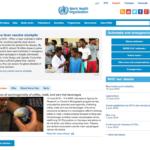 WHO(世界保健機関)のウェブサイトのトップページ画像